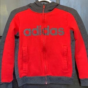 Boys Adidas hoodie with zipper. Size small(8)